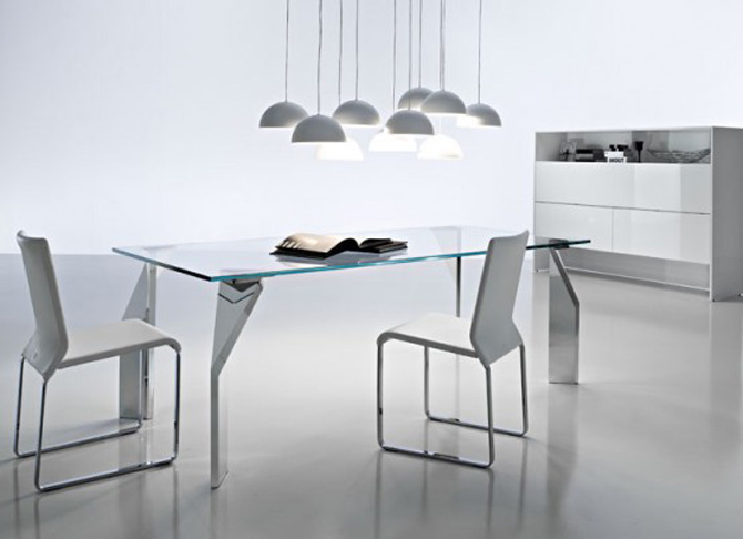 Minimalist Futuristic Glass Dining Room Tables-Chairs ...