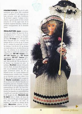 Vestido de Crochê Para Barbie Com Gráfico - Col de Cygne - Robes de Poupées