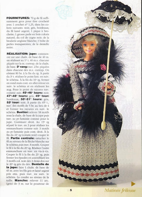 Vestido de Crochê Para Barbie Com Gráfico - Col de Cygne - Robes de Poupées 4