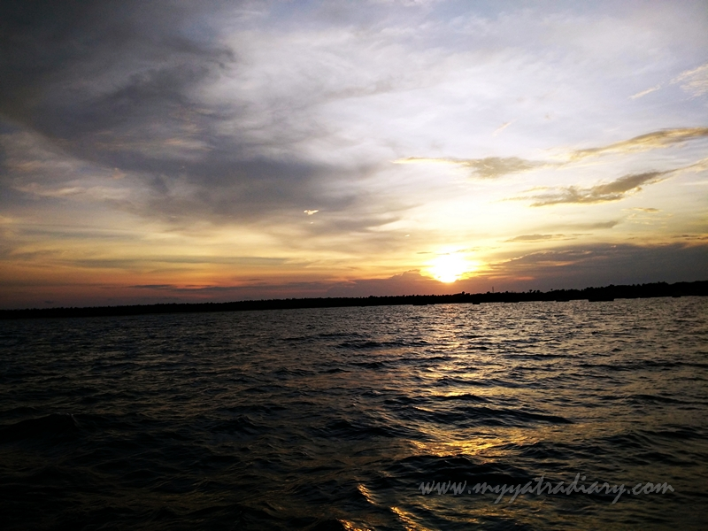 Magnificient sunset during boat ride in Rameswaram, Tamil Nadu