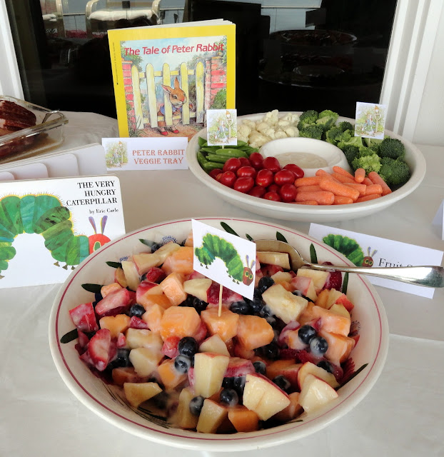 peter rabbit crudites and very hungry caterpillar fruit salad