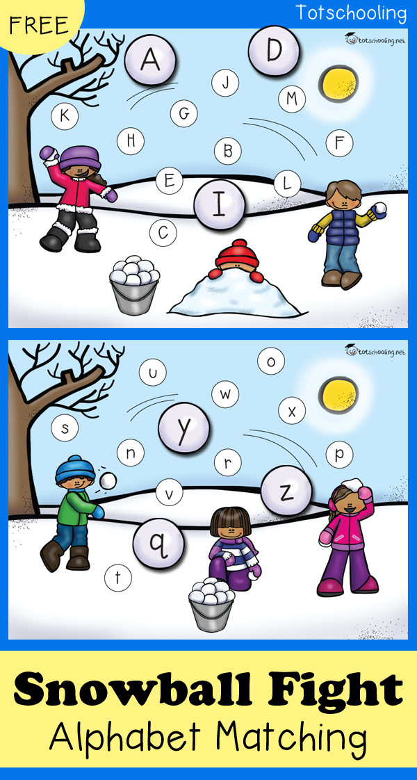 FREE printable Winter themed alphabet matching activity for preschoolers to practice letter recognition! Kids will love matching the snowball letters in this snowball fight! Perfect for a Winter literacy center.
