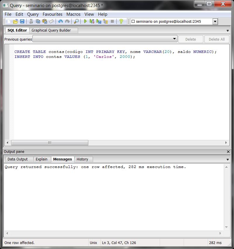 Transação em PostgreSQL
