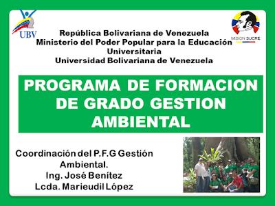Programa De Formación De Grado Gestión Ambiental