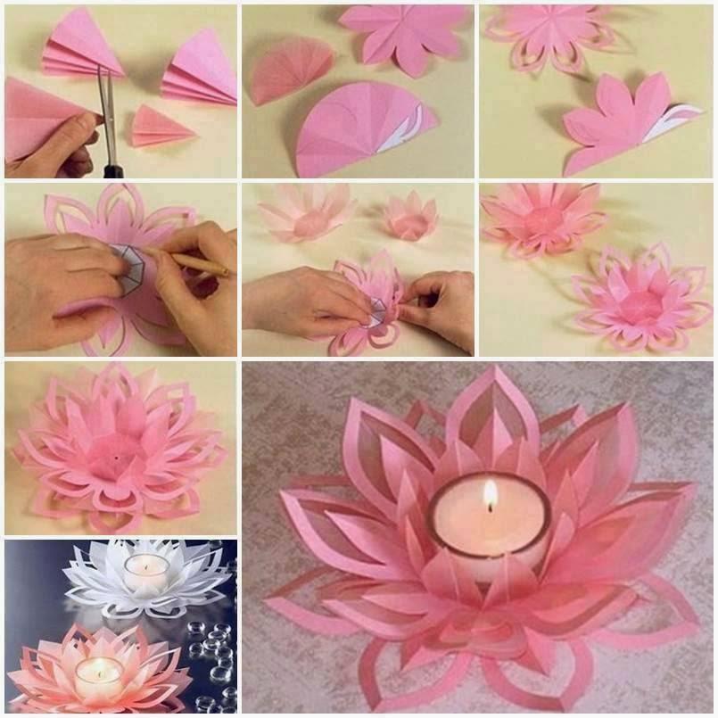 Flor de papel y vela para centro de mesa paso a paso
