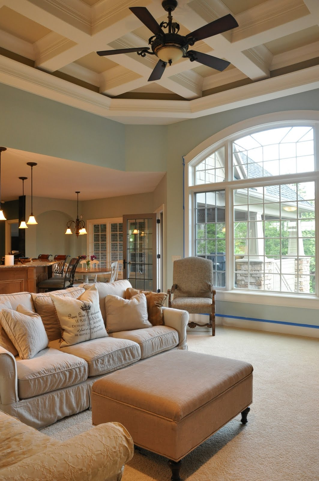 Family room painted with a side of painter 39 s remorse - Benjamin moore palladian blue living room ...