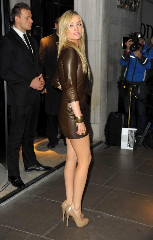 Kenentos: Hot Legs Laura Whitmore In Leather Minidress