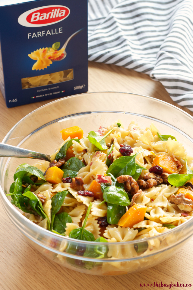 Butternut Squash Pasta Salad with Cranberries, Pancetta and Candied Walnuts www.thebusybaker.ca