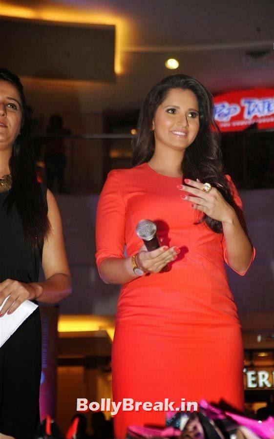 Actress Sania Mirza Pics, Sania Mirza Hot Pics in Red Midi Dress