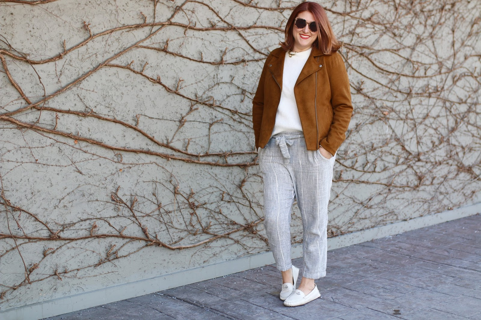 free people wild coast linen pants, old navy knit sueded moto jacket, coach driving loafers