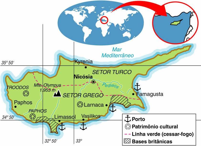 CHIPRE, ASPECTOS GEOGRÁFICOS E SOCIOECONÔMICOS DE CHIPRE