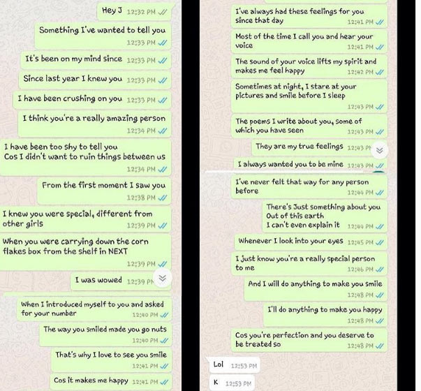 """Ouch! Man opens up to his longtime crush and she replies with """"K"""""""