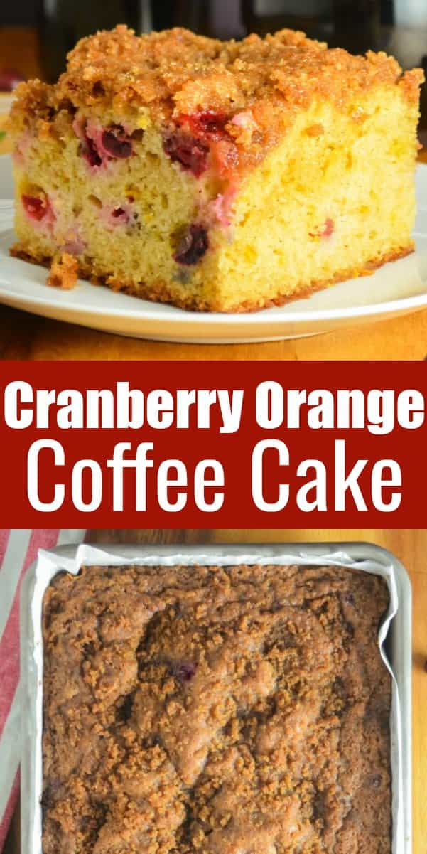Cranberry Orange Coffee Cake with Brown Sugar Crumb is a favorite fall dessert. This Cranberry Cake recipe is a favorite for Thanksgiving and Christmas! It's also great for brunch. A delicious Christmas Cake recipe from Serena Bakes Simply From Scratch.