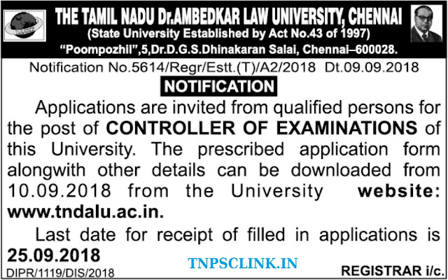 Tamil Nadu Dr. Ambedkar Law University Recruitment 2018