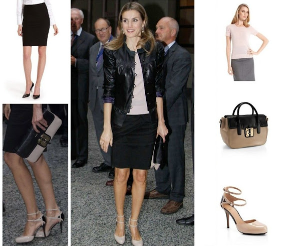 Crown Princess Letizia of Spain in Hugo Boss. Princess Letizia wearing Hugo Boss. Crown princess Letizia with Hugo Boss pants & Magrit sandals