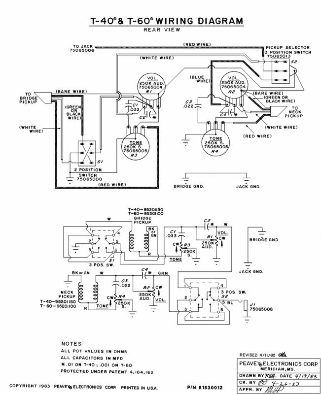 peavey t 60 electric guitar pickup wiring diagrams flat eric's bass & guitar collection: peavey t-40 and t-60 ...