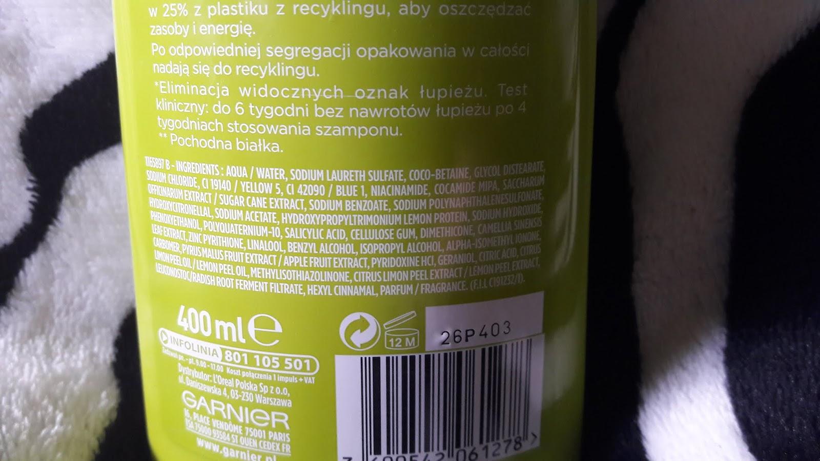 Garnier fructis szampon przeciwłupieżowy wzmacniający 2 w 1