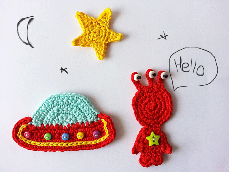 Outer space crochet applique