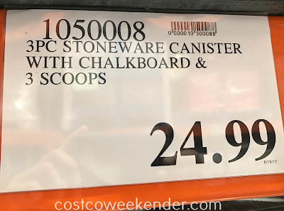 Deal for a set of 3 Stoneware Canisters with Chalkboard at Costco