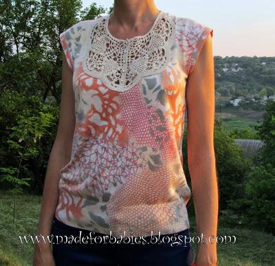 Camiseta con Cuello de Crochet Patron