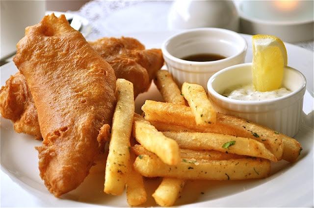 kuliner, makan malam, fish and chips, udang, camilan