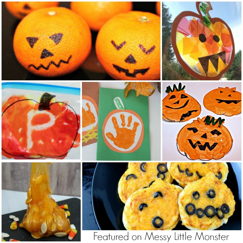 Pumpkin crafts for kids and a few pumpkin activities too! Lots of pumpkin activities for preschoolers to enjoy this Autumn