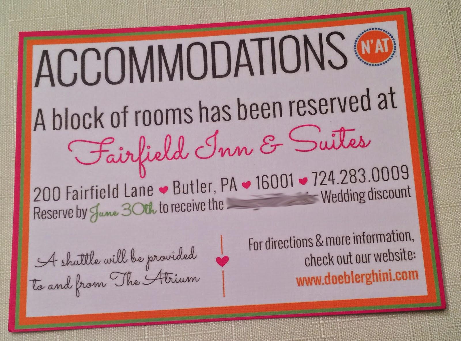 Wedding Invitation Accommodation Insert Wording: The Doeblerghini Bunch: Doeblerghini Wedding Invite Reveal