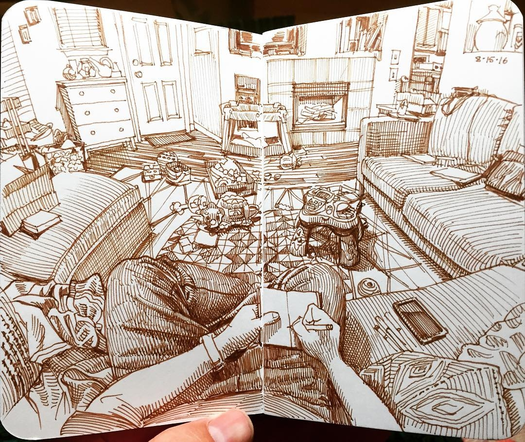 19-The-Living-Room-Paul-Heaston-Urban-Sketcher-Inserts-Himself-in-the-Drawing-www-designstack-co