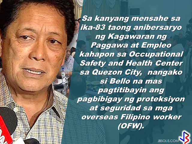"7.5 MILYONG TRABAHO,IPINANGAKO NI PANGULONG DUTERTE NA LILIKHAIN SA LOOB NG 6 NA TAON. The Duterte administration  has vowed to end contractualization, age discrimination and the growing number of unemployment. During the last quarter of 2016, the unemployment rate has reached its lowest  and the GDP has on its highest. as Secretary of Labor, Sec. Silvestre Bello III promised full implementation of the labor law and to uphold the rights of the working class, eliminating ""endo"" and all forms of illegal contractualization.    In his message on the 83rd anniversary of the Department of Labor and Employment, he vowed to consolidate the the protection and security given to the Overseas Filipino Workers (OFWs)          Sec. Bello  also expressed  gratitude for the DOLE partners who helped maintain the harmony and peace in the labor industry with a call to take care of the investors and employers to continue to generate more jobs.   Thanking the employers and investors for their contributions to Philippine economy, Sec. Bello said that they are the most important partners of DOLE.      The Secretary reiterated that one of the goals of the Duterte administration is to create a persuasive environment for the the  investors to come to the Philippines and to provide inspiration to the local businesses to expand more  and generate more jobs.    Sec. Bello said that this goal is vital to hit 7.5 million jobs that President Duterte  has promised to create during his term.    Sec. Bello calls on all officials and employees of the department to serve all Filipinos well, for the labor and employment sector  reforms and for the welfare of the rights and dignity of the workers and for the continuing trust and confidence of the investors in the country."