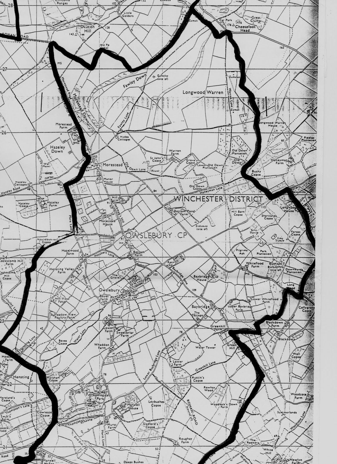 owslebury map showing old tracks bridleways and footpaths