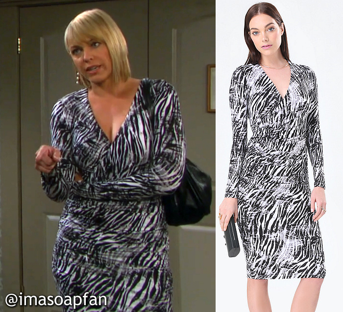 Nicole Walker's Zebra Print Surplice Dress - Days of Our Lives, Season 51, Episode 09/20/16 Arianne Zucker