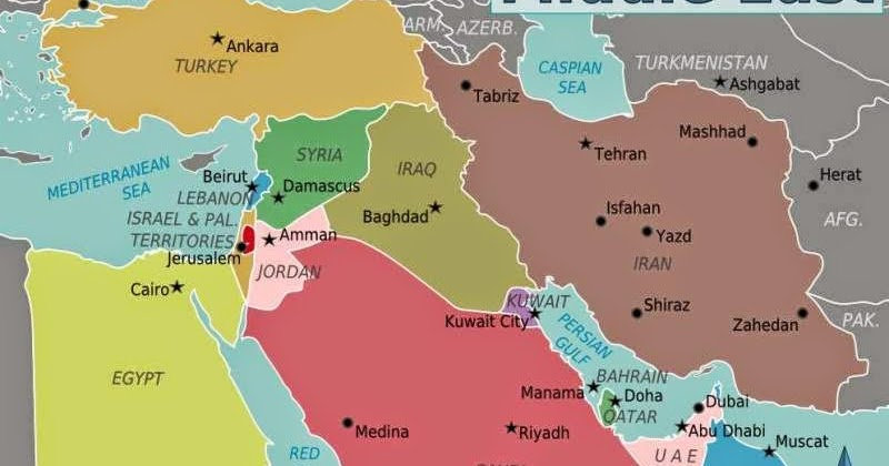 Middle East Political Map - Free Printable Maps
