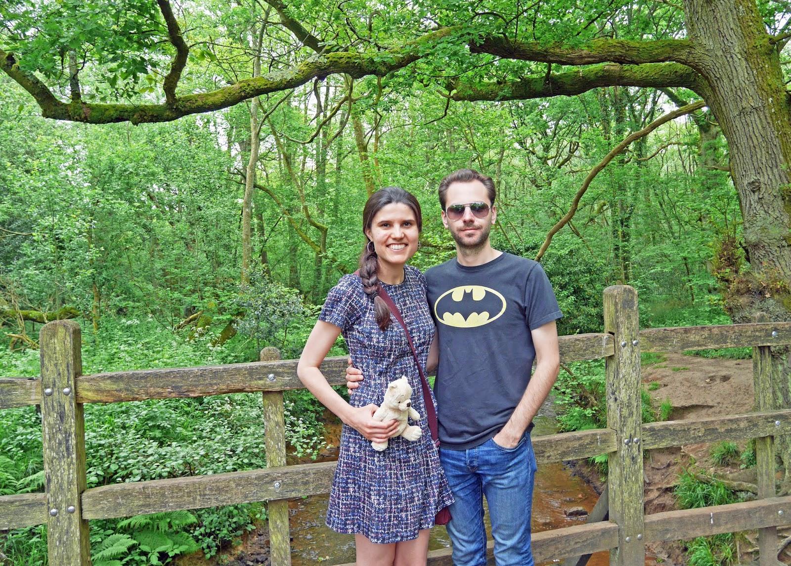 Kat Last and Stuart standing on Pooh Bridge in Ashdown Forest
