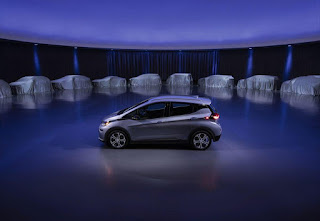 The Chevrolet Bolt EV (foreground) is just the beginning of GM's upcoming battery- or fuel cell-powered electric vehicle lineup. (Credit: General Motors) Click to Enlarge.
