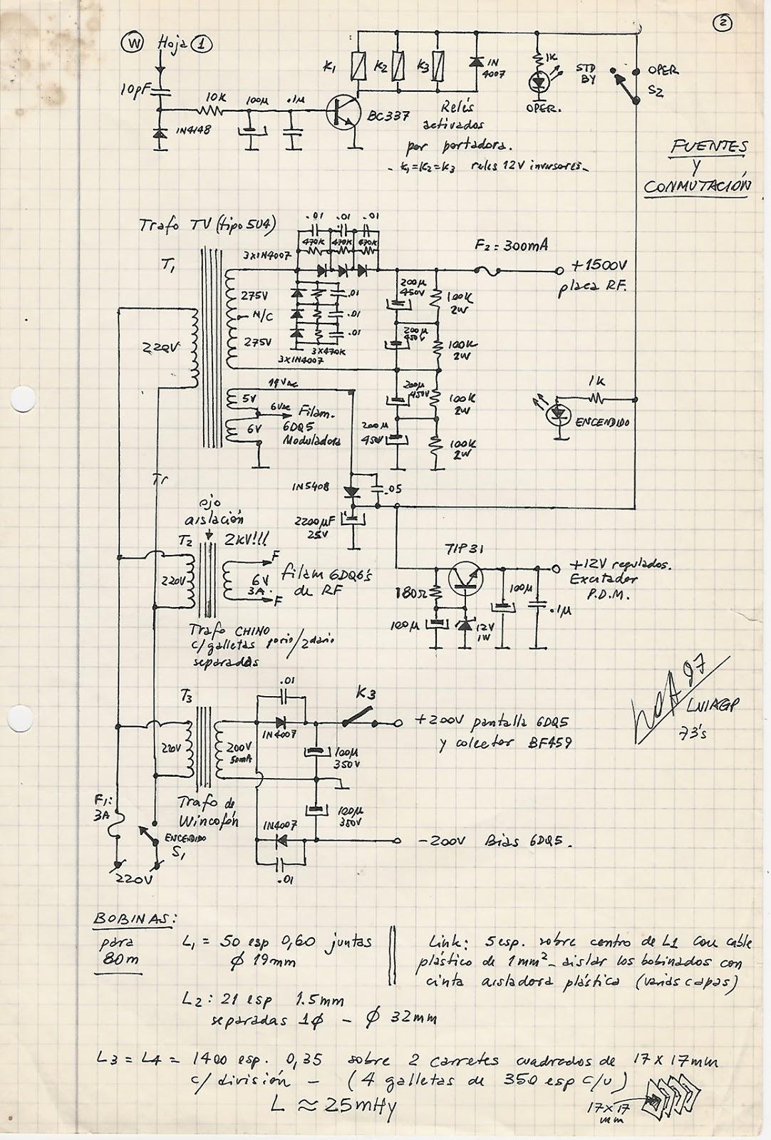 Circuito Wincofon : Transmisor am pwm a valvulas tube