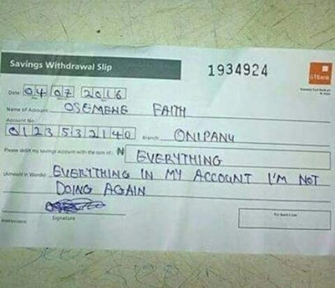 """Effects of change? Osemewe Faith withdraws """"everything"""" in her bank acc"""