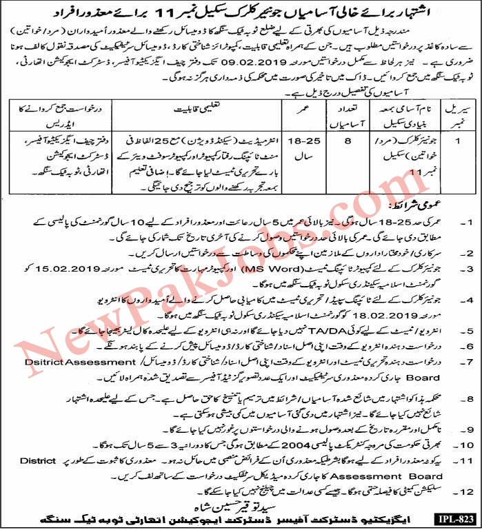 Disable People Jobs in Toba Tek Singh