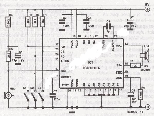 voice sound recorder circuit schematic