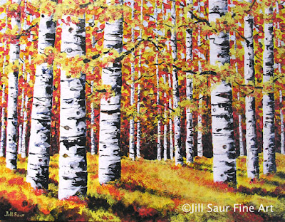 trees in art, birch tree painting