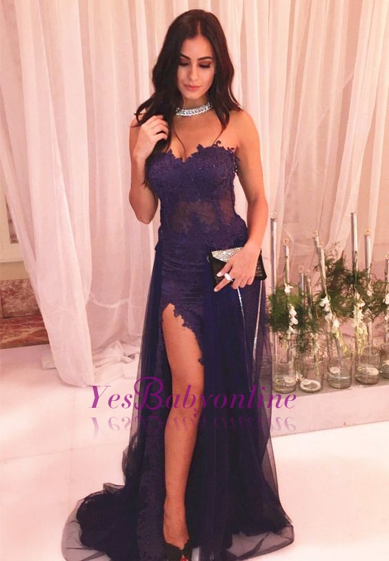 Sexy Sweetheart Side Slit Prom Dresses | Sheath Appliques Evening Dresses