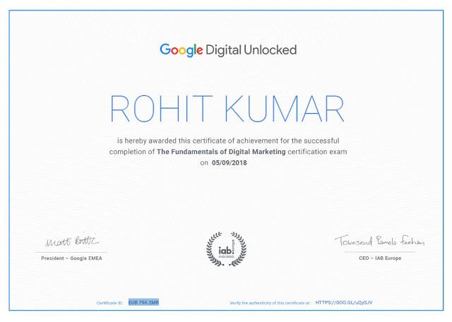 rohit kumar certificate