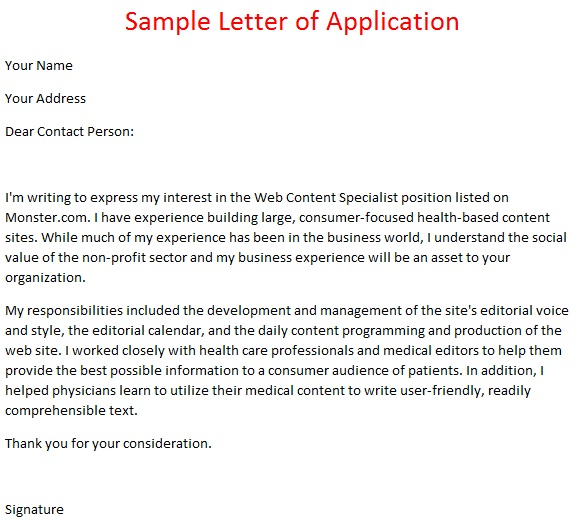 Job application letter example sample letter of application for Examples of a covering letter for a job application