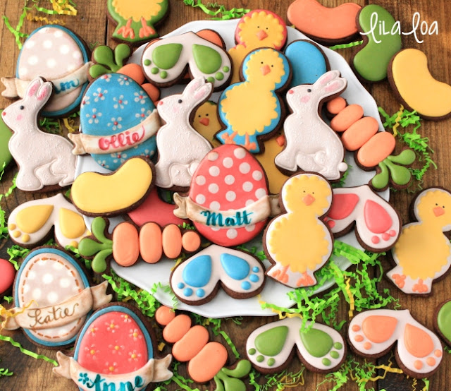 Easter egg, carrots, chick and bunny print decorated sugar cookies
