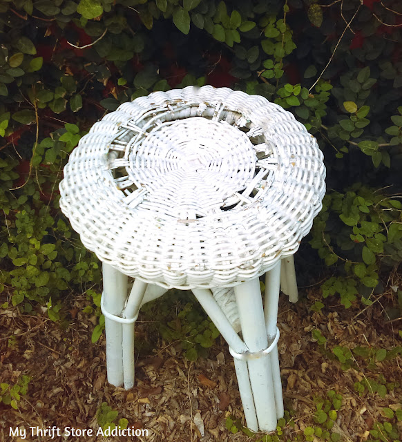 thrifted vintage wicker stool