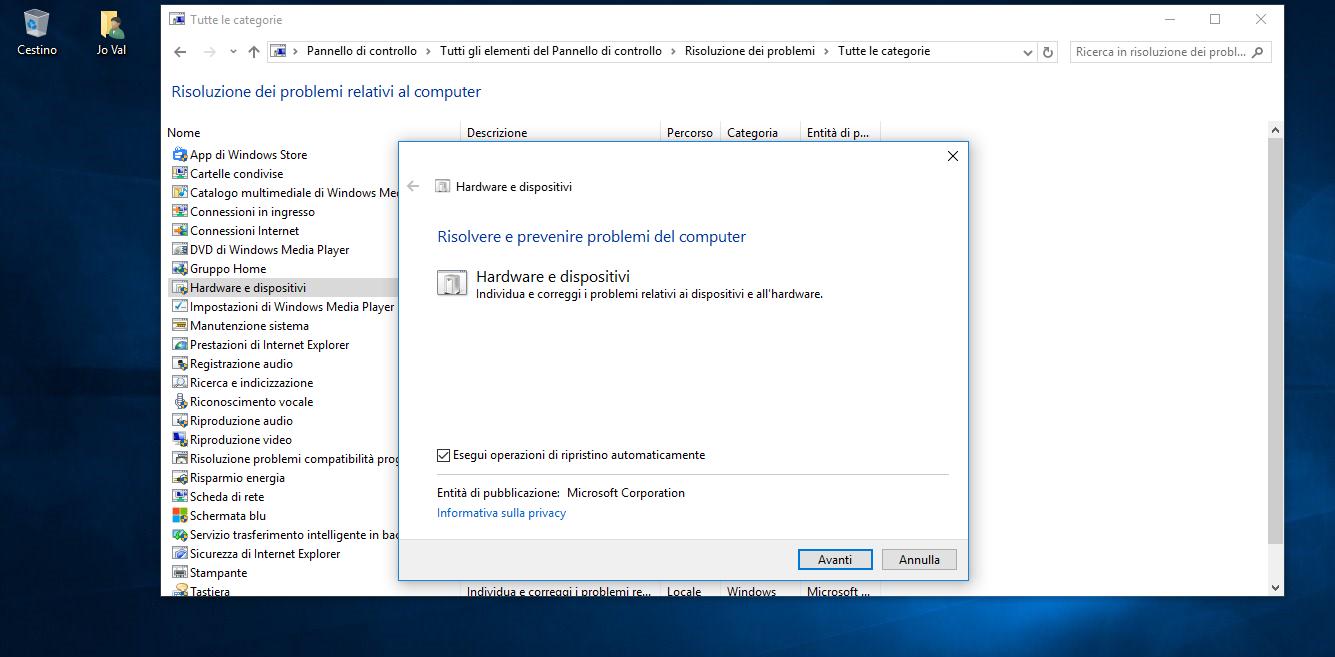 Strumenti per la Risoluzione dei problemi in Windows 10 2