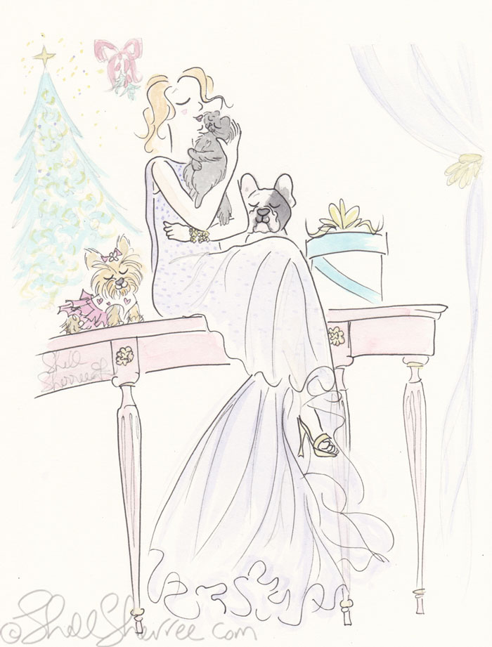 Illustration Fashion & Fluffballs : Glam Mistletoe Kisses © Shell-Sherree
