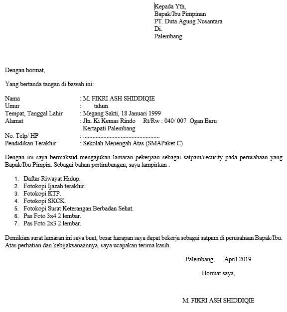 contoh surat lamaran kerja satpam tulis tangan
