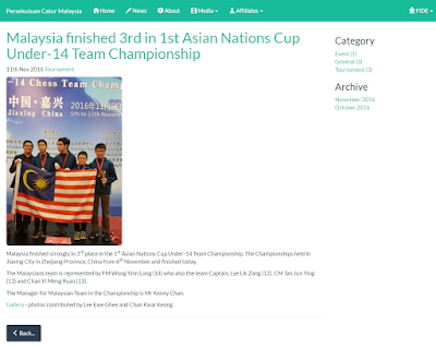 1st ASIAN NATIONS CUP UNDER-14 TEAM CHAMPIONSHIP 2016