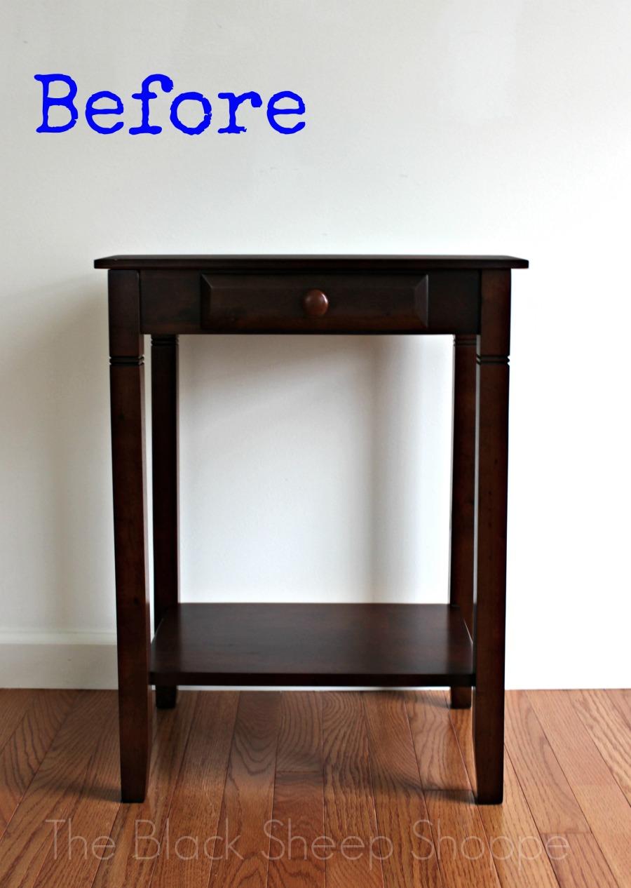 Original nightstand before paint.