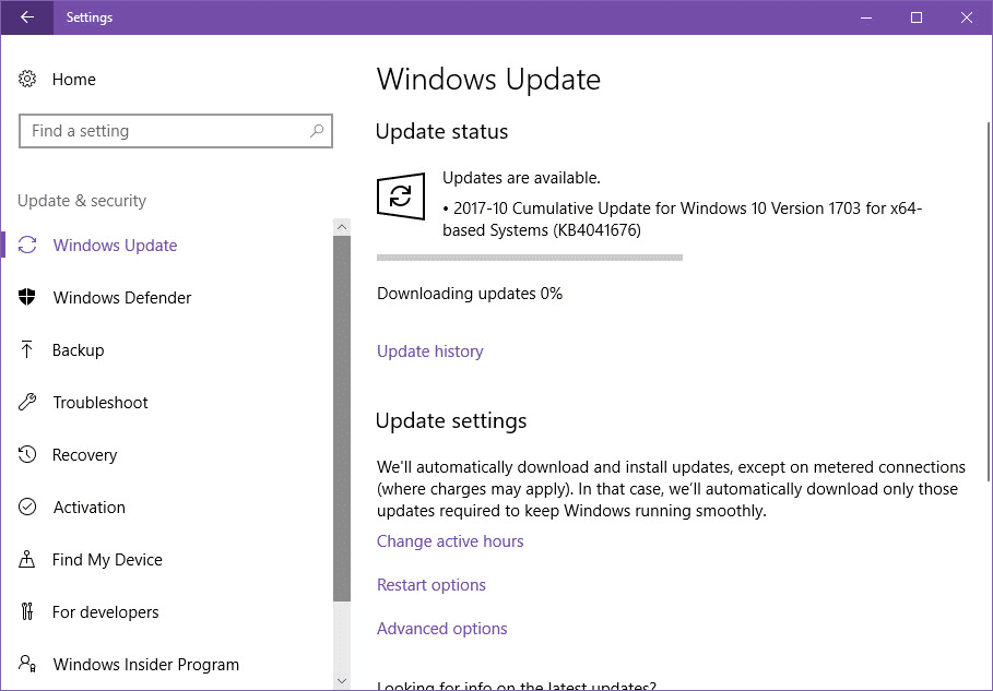 Cumulative Update KB4041676 for Windows 10 v1703 Build 15063.674